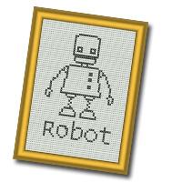 Minibroderikit med robotmotiv.